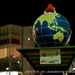 Earthe with a santa's hat in Tokyo Japan