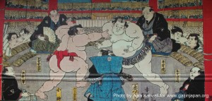 sumo painting at ryogoku stadium tokyo japan 300x143 Sumo in Japan: a traditional sport