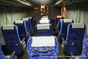 kamaishi, iwate, tohoku, japan - volunteer fro tsunami - bus