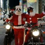 Noël à Tokyo - Père Noël panda avec motards père noël à shibuya