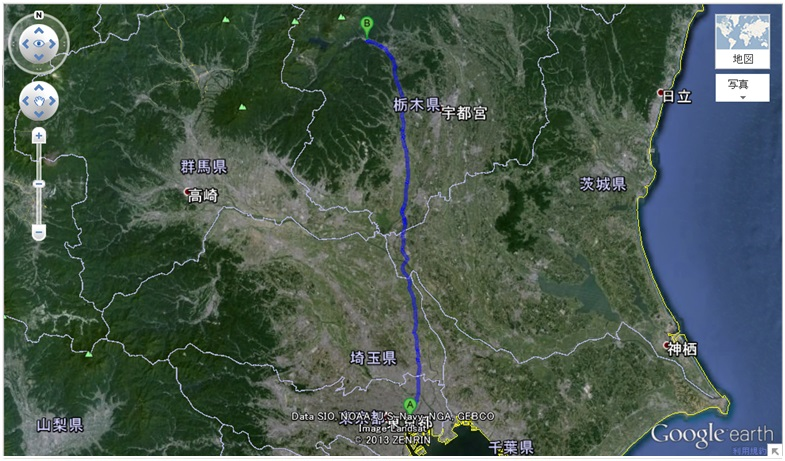 Carte Tokyo - Nikko à pieds google earth
