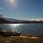 Mont Fuji - Kawaguchiko - avec des bateaux