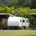 camping en bord de lac Saiko Mont Fuji - caravane