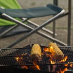 camping en bord de lac Saiko Mont Fuji - maïs barbecue