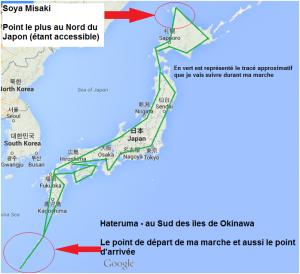 Carte tracé CAP 10000 JAPON