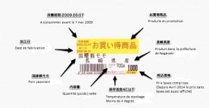 étiquette alimentaire au Japon