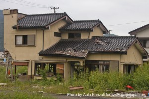 kamaishi, iwate, tohoku, japan - volunteer fro tsunami - houses