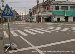 kamaishi, iwate, tohoku, japan - volunteer fro tsunami - main street