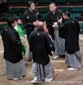 sumo tournament - ryogoku - tokyo - japan - judges & referee