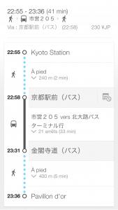 kinkaku-ji à Kyoto pavillon d'or - trajet en bus