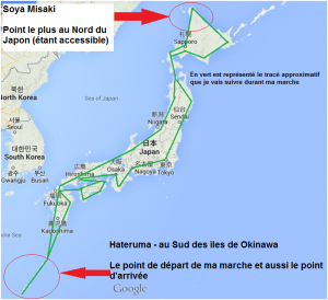 Carte tracé CAP 10000 JAPON